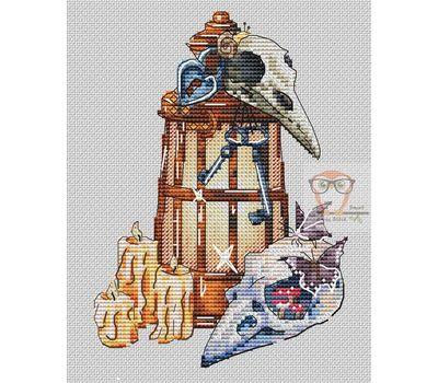 Skulls & Lantern cross stitch chart