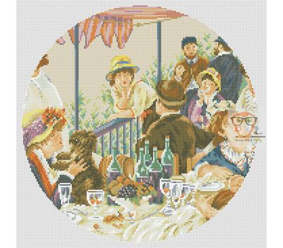 Luncheon Of The Boating Party by Renoir cross stitch chart