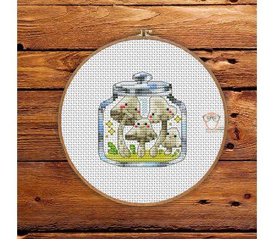 Mushrooms in the jar #2 cross stitch pattern