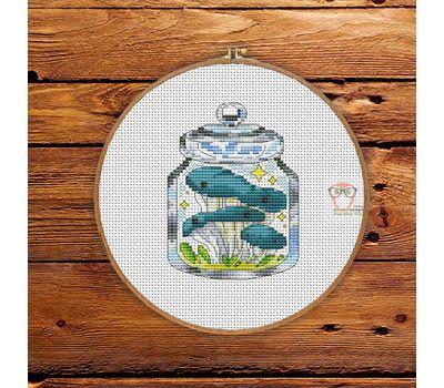 Mushrooms in the jar #3 cross stitch pattern