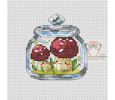 Mushrooms in the jar #4 cross stitch pattern