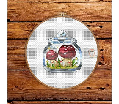 Mushrooms in the jar #4 cross stitch patternMushrooms in the jar #4 cross stitch patternMushrooms in the jar #4 cross stitch pattern