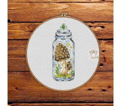 Morel Mushroom cross stitch pattern