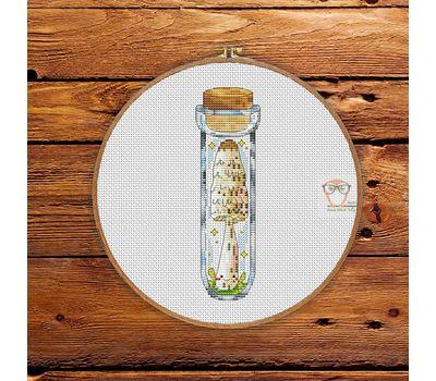 Toadstool Mushroom in the jar #6 cross stitch pattern