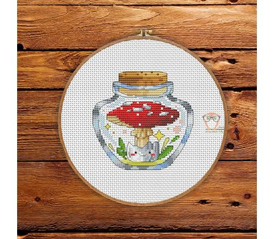 Fly agaric in the jar #7 cross stitch pattern