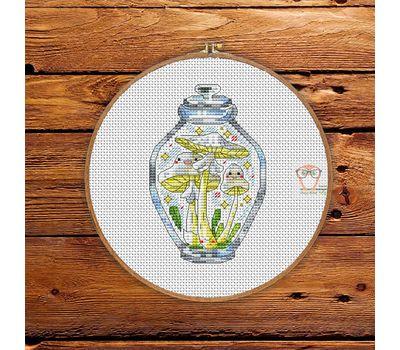 Mushrooms in the jar #9 cross stitch pattern