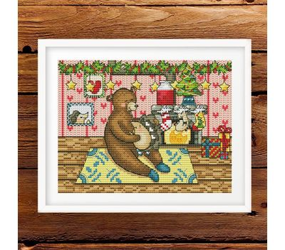 Xmas Bear and hedgehog cross stitch pattern