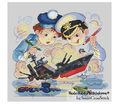 Sea Battle cross stitch pattern