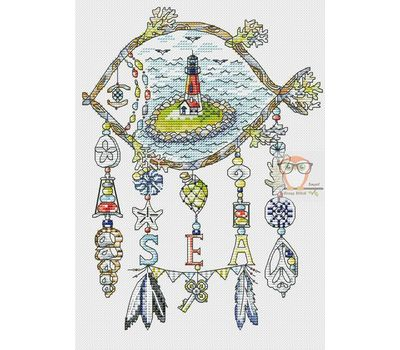 Sea dreamcatcher cross stitch chart