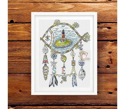 Sea dreamcatcher cross stitch pattern