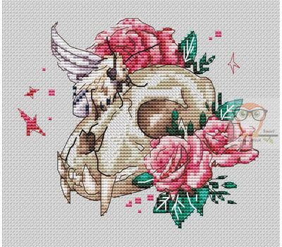 Skull with Roses cross stitch chart