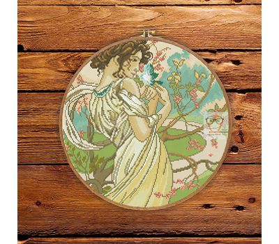 Spring Lady by Alfons Mucha cross stitch pattern