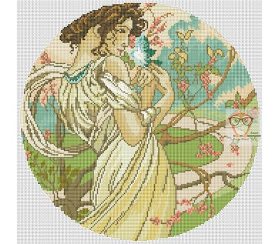 Spring Lady by Alfons Mucha cross stitch chart