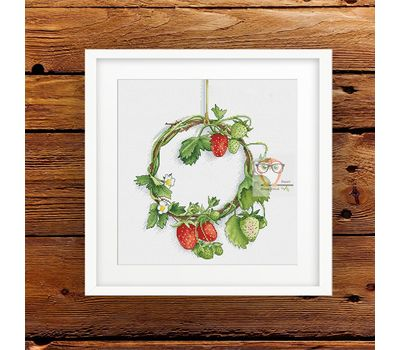 Strawberry Wreath cross stitch pattern