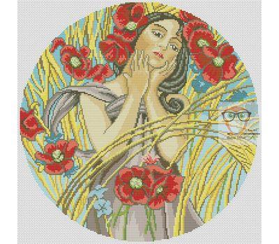 Summer Lady by Alfons Mucha cross stitch chart