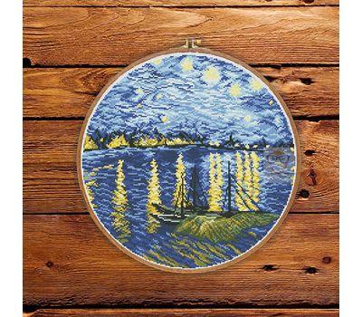 Van Gogh cross stitch pattern Starry Night Over the Rhone
