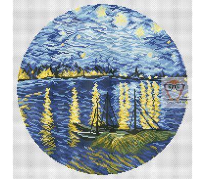 Van Gogh cross stitch chart Starry Night Over the Rhone