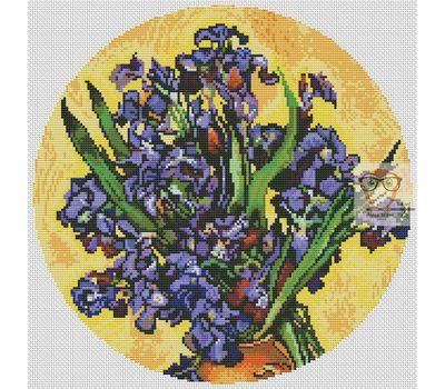 Van Gogh Irises round cross stitch chart