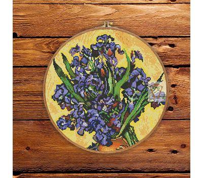 Van Gogh Irises round cross stitch pattern