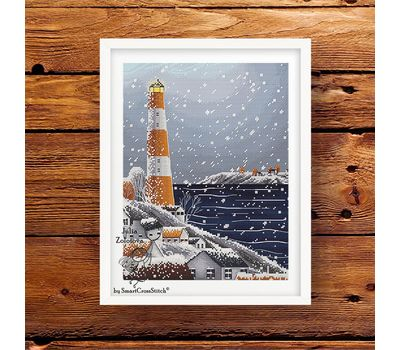 Winter Lighthouse Cross stitch pattern