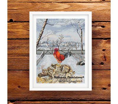 Winter Rooster cross stitch pattern