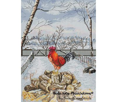 Winter Rooster cross stitch chart