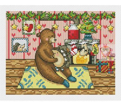 Xmas Bear and hedgehog cross stitch chart
