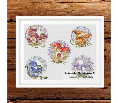 Mushrooms Sampler cross stitch pdf pattern