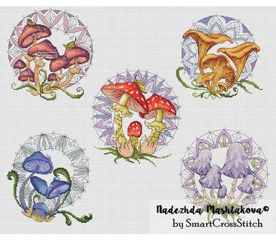 Mushrooms Sampler cross stitch pdf chart