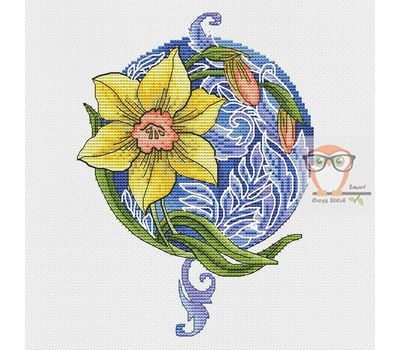 Daffodil round cross stitch chart