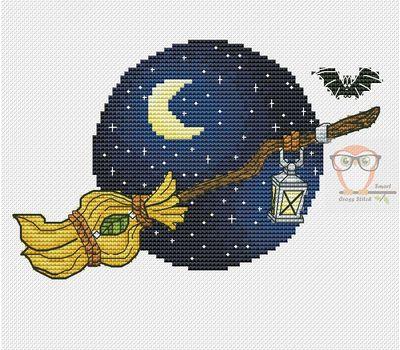 Witch Broom cross stitch pattern - blue