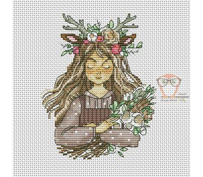 Deer Girl Cross stitch chart