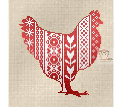 Easter Hen ornament cross stitch chart