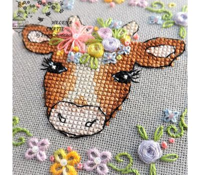 Flower Cow Cute cross stitch chart