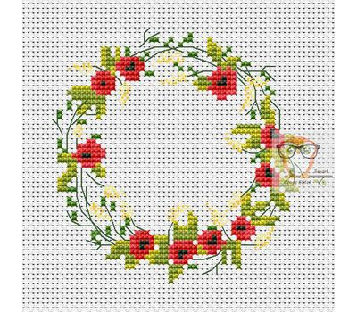 Flower Wreath free cross stitch chart