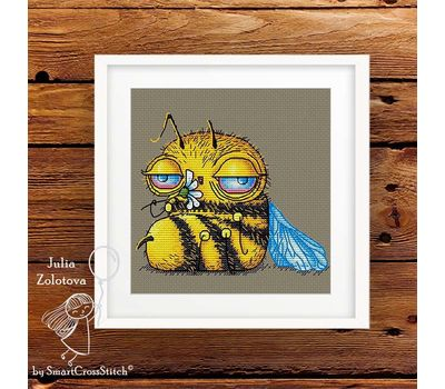 Funny Tired Bee Cross stitch pattern framedFunny Tired Bee Cross stitch pattern