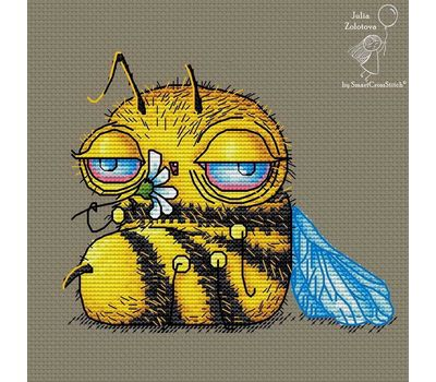 Funny Tired Bee Cross stitch chart