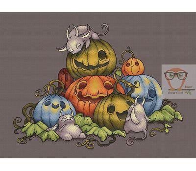 Funny Pumpkins Family Halloween cross stitch chart