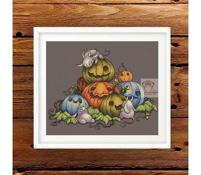 Funny Pumpkins Family Halloween cross stitch pattern