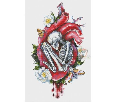 Heart with skeleton cross stitch chart