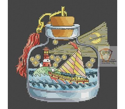 Lighthouse in the Bottle cross stitch chart - black fabric