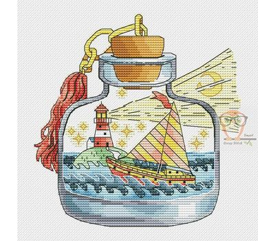 Lighthouse in the Bottle cross stitch chart