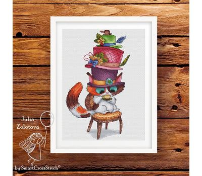 Funny Mad Hatter cat cross stitch patternFunny Mad Hatter cat cross stitch pattern