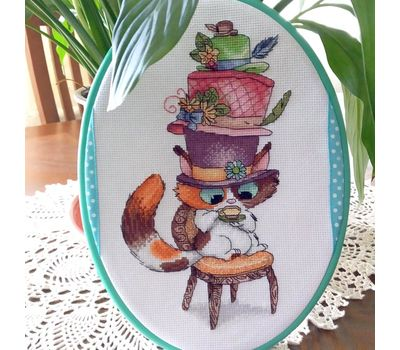 Funny Mad Hatter cat cross stitch chart