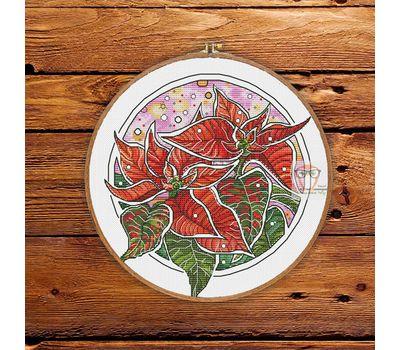 Poinsettia Floral round cross stitch pattern