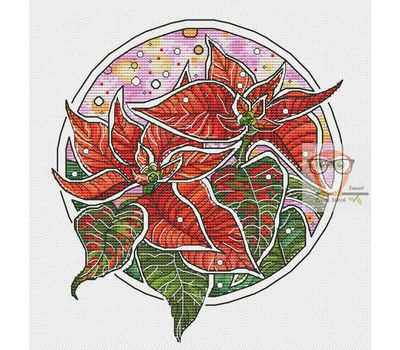 Poinsettia Floral round cross stitch chart
