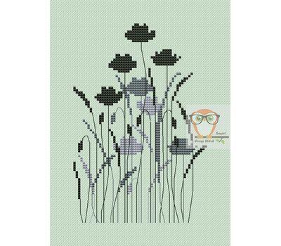 Poppies silhouette cross stitch chart