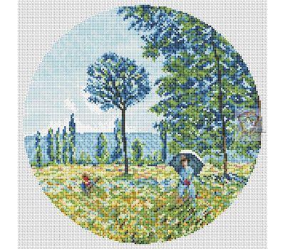 Sunlight under the Poplars by Claude Monet cross stitch chart