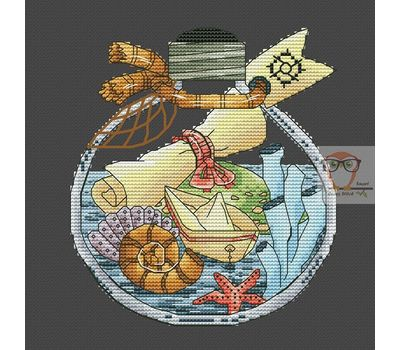 Treasure Map in the Bottle cross stitch chart black canvas