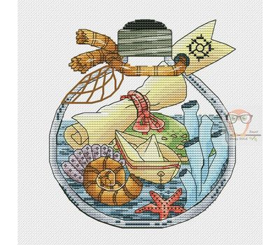 Treasure Map in the Bottle cross stitch chart